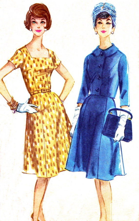Vintage Sewing Pattern 1960s McCall's 5738 Plus Size Mad Men Dress, Gored Skirt, Square Neckline and Jacket Size 42 Bust 44