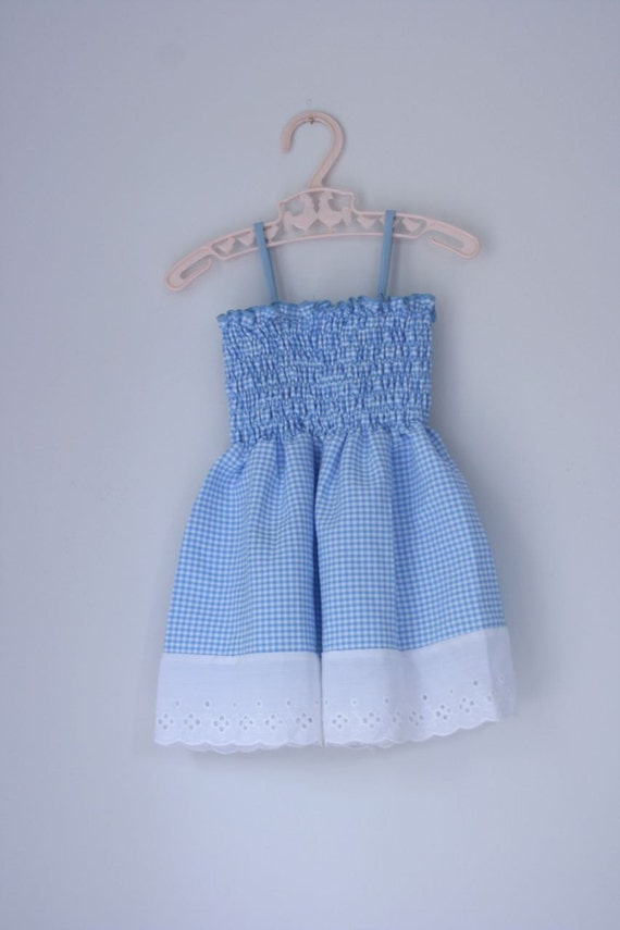 Teeny blue and white dress 18 - 24 months
