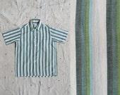 SALE // vintage 1960s boys green ombre stripe short sleeve button down shirt