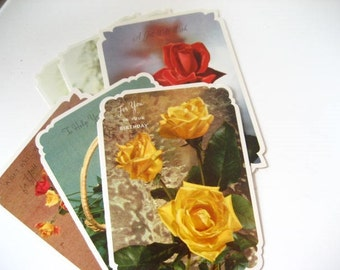 Set of 6 Large Floral Glossy All Occasion Greeting Cards with Envelopes