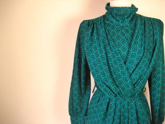 Vintage Turquoise and Black Woven Sweater Style Dress- Size M