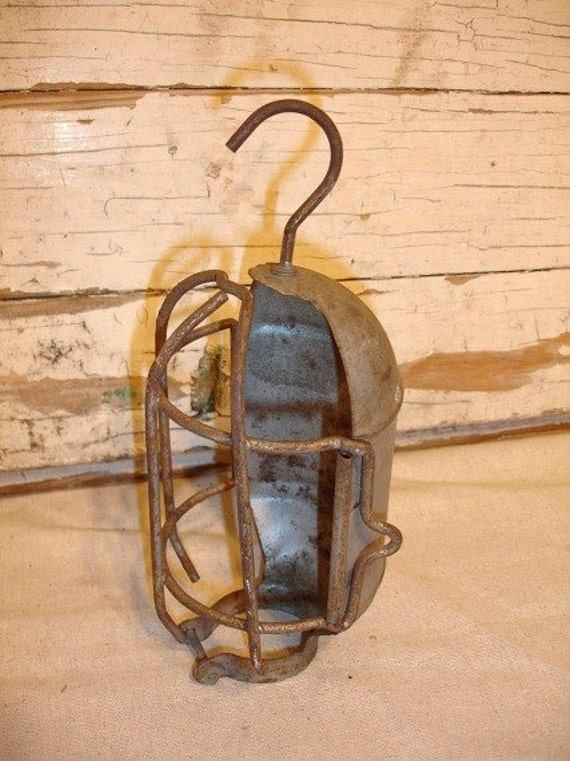 Vintage Industrial Rustic Utility Light Cage