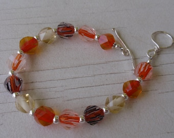 Orange and Yellow Glass Sterling silver Bracelet