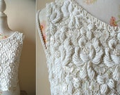Old Hollywood Stunning Cream and White Heavily Beaded Sparkly Lace Top