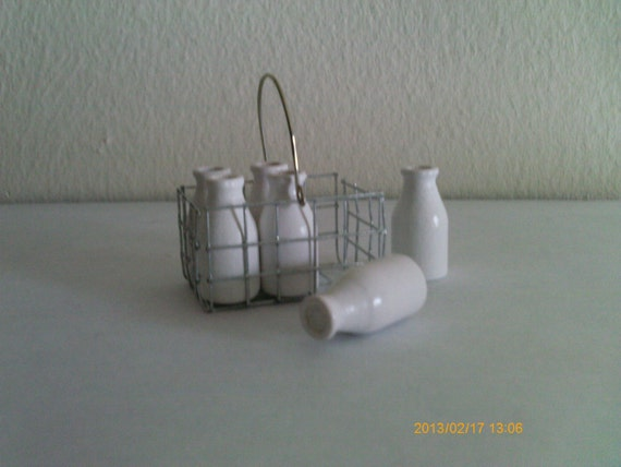 Miniature Wire Basket (Very Small) with Wooden Milk Bottles (removable) - Handmade - Can be ordered as Refrigerator Magnet also