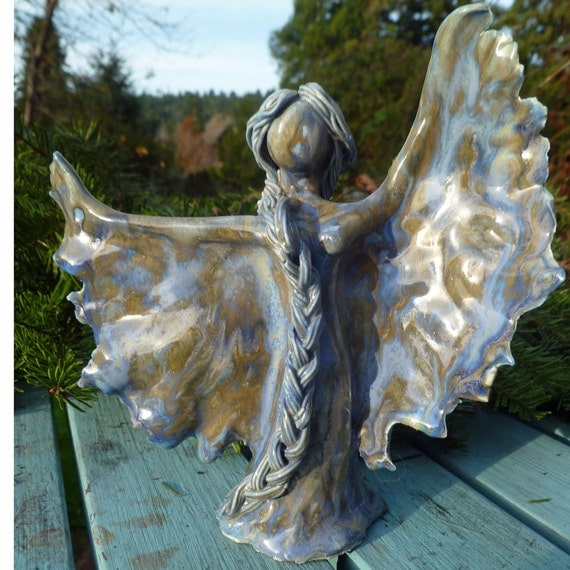 Porcelain Nature Spirit Fairy Garden Angel Blue Mossy Patina Green SECOND SAVE 25 PERCENT