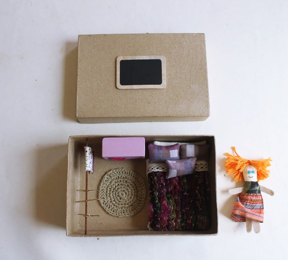 Roombox. Bedroom in a box with doll. Miniature. Children.