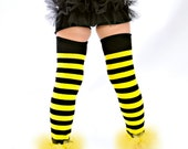 Bumble Bee YeLLOW - BLaCK Striped Bunny Buns - Ruffled Tutu Diaper Cover - Perfect 4 Halloween - Fits 0-12months 12-24 months