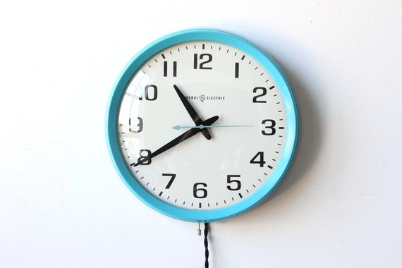 Large Aqua GE Wall Clock