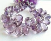Pink Amethyst Gemstone Briolette Faceted Tear drop 8.5 to 9.5mm 12 beads