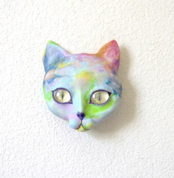 Neon Alien Cat Face Wall Sculpture Mask OOAK