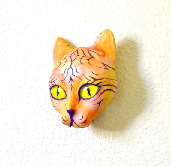 Geometric Striped Cat Face Sculpture Visionary Art