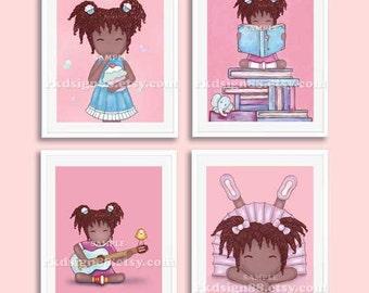 Childrens wall art, nursery art, African art, baby girl nursery decor, nursery print, girls room decor, kids wall art, Set, 4 prints