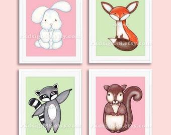 Etsy nursery art girl, baby nursery decor, kids wall art, nursery wall art, bunny fox raccoon squirrel SET, 4 prints