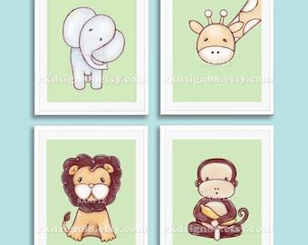Etsy nursery art girl - baby boy nursery decor - safari animals - kids wall art -  elephant - lion - giraffe - monkey - set - 4 prints