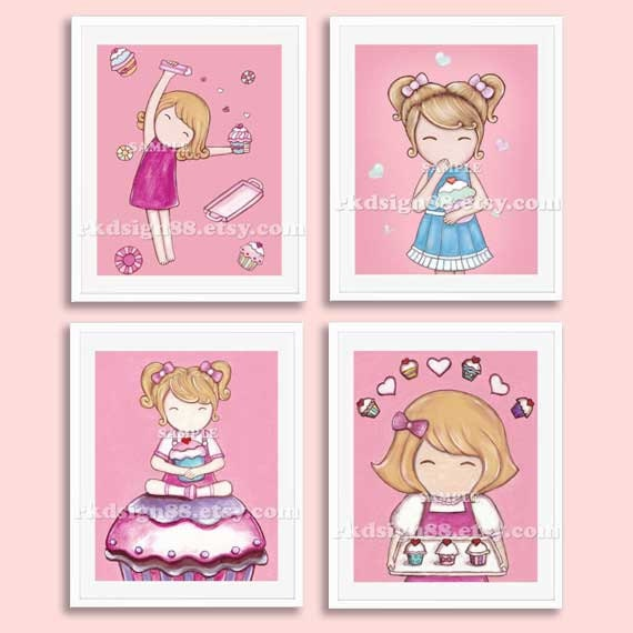 Nursery Art For Children Kids Wall Art Baby Girl Nursery Baby: Items Similar To Cupcakes Nursery Art Prints, Baby Girl