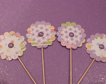 Glittery Flower Cupcake Toppers - 12 Paper Button Flowers - Cake or Cupcake Toppers, use for Birthday, Shower, Celebration or a party