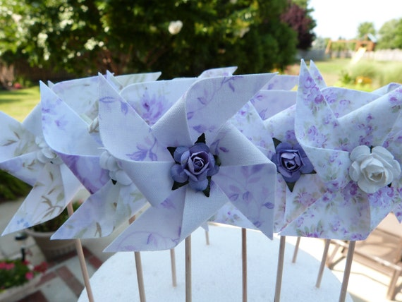 Pinwheel Cupcake Flags - Shabby Ashwell Lilac Purple Chic  - 12 Fabric  Cake Toppers, use for a Baby Shower, Birthday, or a party