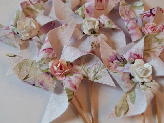 Pinwheel Cupcake Flags - Shabby Ashwell Pink Chic  - 12 Fabric  Cake Toppers, use for a Baby Shower, Birthday, Celebration,  or a party