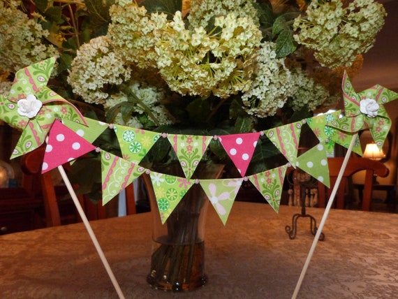 Fun Blake Riley Pink and Green  Pearl Mini Cake Topper Bunting - Shower, Wedding, Birthday  Flags Banner