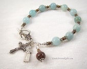 St Kateri Tekakwitha Rosary Bracelet Chaplet Amazonite Blue Miraculous Medal St Therese Sacred Heart Good Shepherd Bronze Prayer Beads