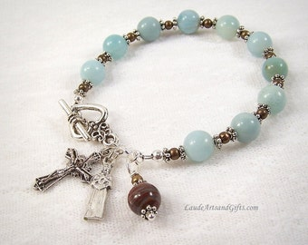 St Kateri Tekakwitha Rosary Bracelet Chaplet Amazonite Blue Miraculous Medal St Therese Sacred Heart Good Shepherd Bronze Prayer Beads