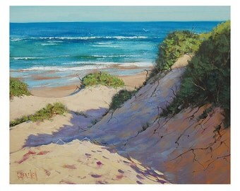 BEACH OIL PAINTING traditional Seascape sand dunes by Graham Gercken