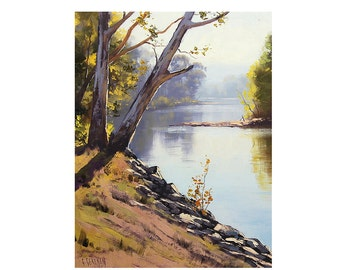 LANDSCAPE PAINTING Original oil painting Tumut River by Graham Gercken