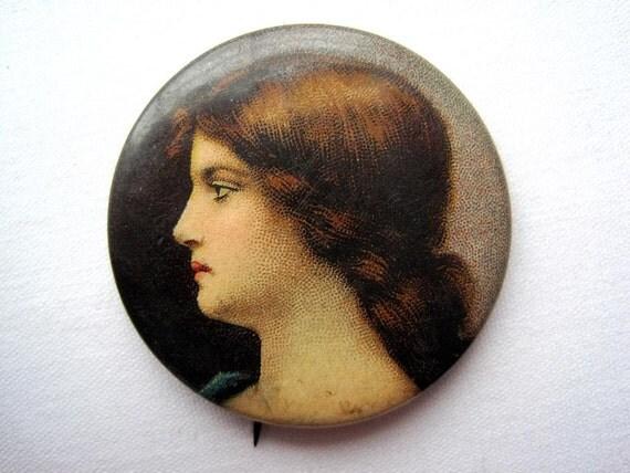 Antique Pinback - Cigarette Premium - Victorian Pretty Ladies