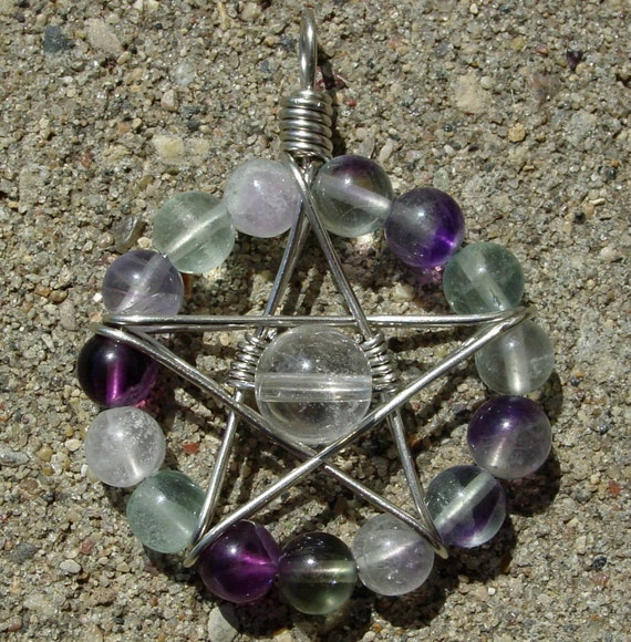Nickel Silver Rainbow Fluorite & Quartz Star Pendant