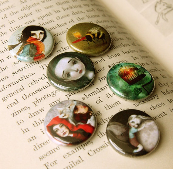 Assorted Pin Button set - SIX  Meluseena pins