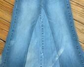 Distressed Denim Long Modest Maternity Skirt