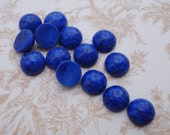 Vintage 7mm Blue Lapis Lazuli Flat Back Round Mineral Gemstone Cabs with Bronze Specks (12 pieces)