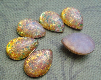Vintage 18x13mm Yellow Fire Opal Pear/Teardrop Harlequin Flat Back Glass Cabs (2 pieces)