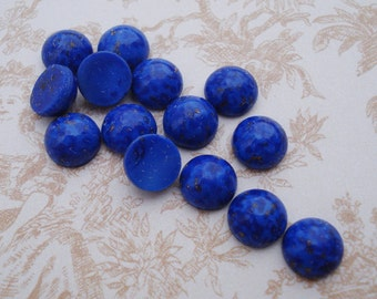Vintage 7mm Blue Lapis Lazuli Flat Back Round Mineral Gemstone Cabs with Bronze Specks (12 pieces)