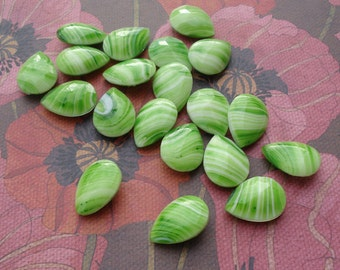 Vintage 18x13mm Shades of Green Striped Pear/Teardrop Smooth Top Faceted Slightly Pointed Back Glass Jewels or Cabs (2 pieces)