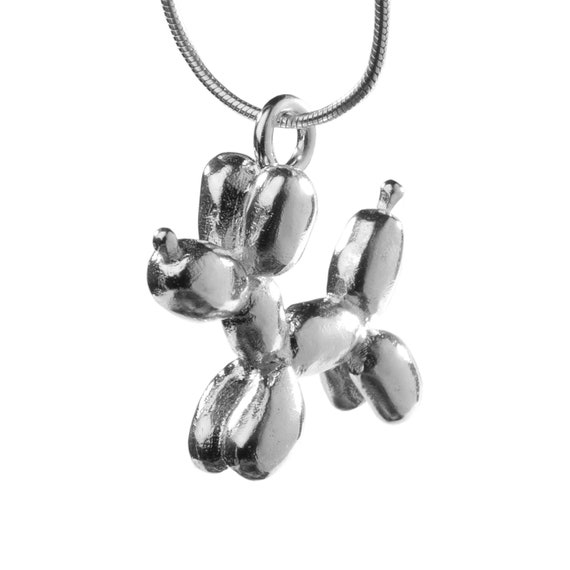Balloon Dog sterling silver Necklace, Very cool silver necklace with Balloon Dog pendent, animal balloon jewelry