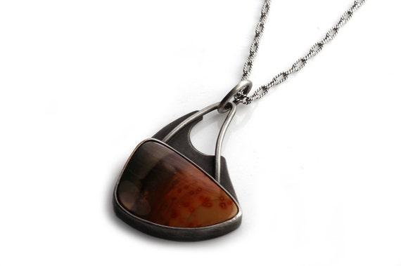 terrace- sterling silver and jasper pendant