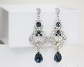 Rhinestone Bridal Earrings  Swarovski Crystal Chandelier Wedding Earrings  Montana Blue Sapphire Wedding Jewelry FRANCES MID