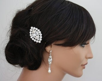 Wedding Hair Accessory, Small Hair Comb, Pearl and Crystal filigree hair clip LEILA COMB