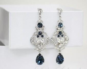 Blue Bridal Earrings  Swarovski Crystal Chandelier Wedding Earrings  Montana Blue Sapphire Wedding Jewelry FRANCES MID