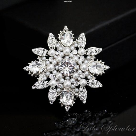 White Pearl Brooch, wedding Brooch, pearl rhinestone dress pin, Bridal dress brooch rhinestone