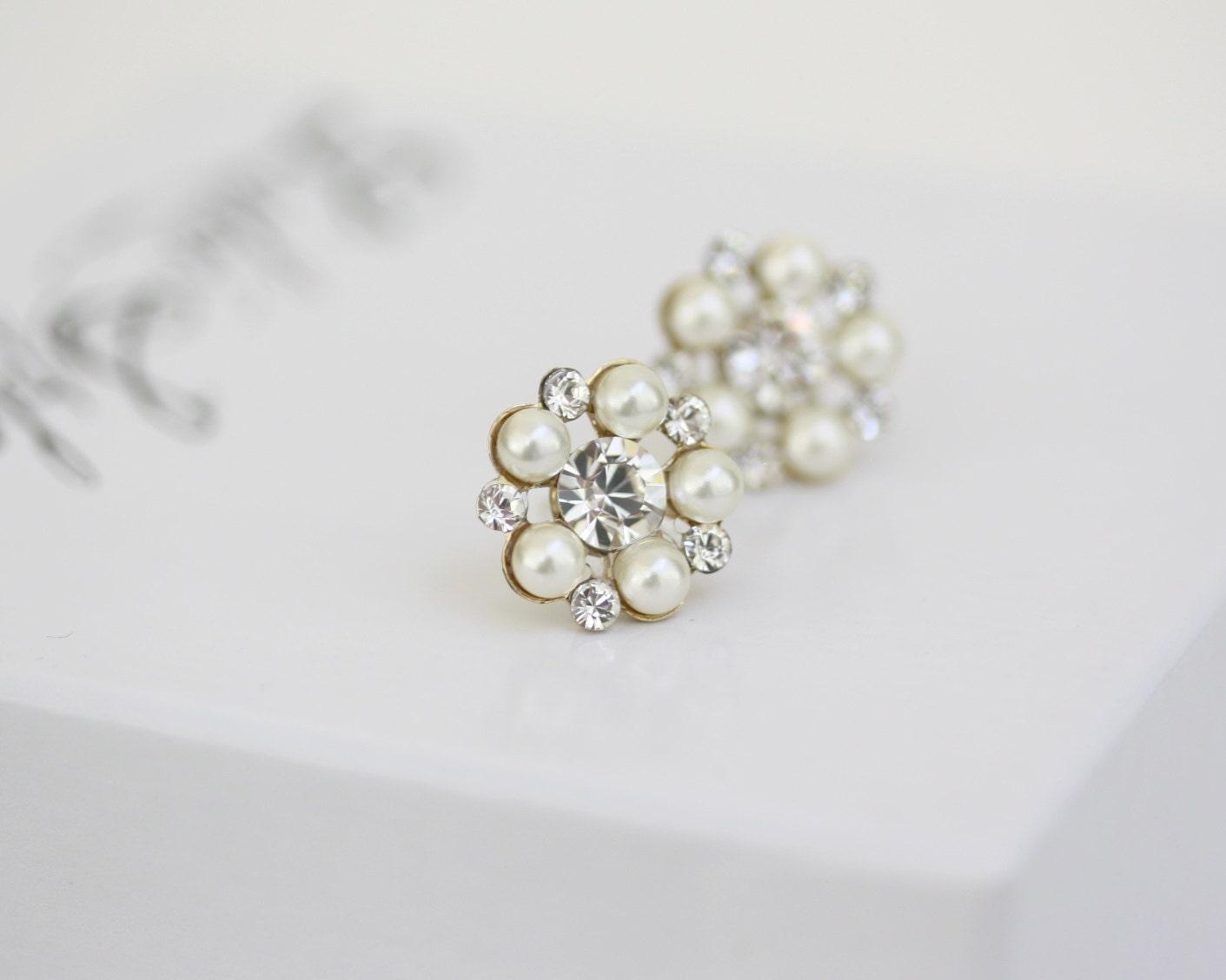 Pearl Stud Bridal Earrings Gold Wedding Earrings Pearl Crystal