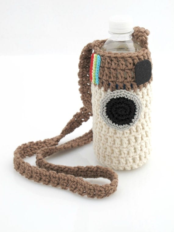 Instagram Water Bottle Holder. Crochet. Tote.