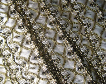 2 Yards Fancy Metallic And Fabric Sewing Trim In White And Gold
