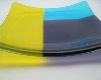 Fused Glass Plate Square Sushi Yellow Purple Turqouise Geometric