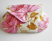 Ivory Clutch with Pink Flowers, Garden Wedding Accessory, Bridesmaids Gift
