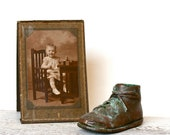 Mom, Where is My Other Shoe . . . Vintage Bronzed Shoe, Vintage Cabinet Card