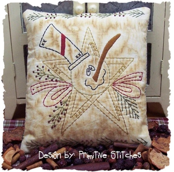 Star Snowman by Primitive Stitches--E-PATTERN-Primitive Stitchery--Instant Download