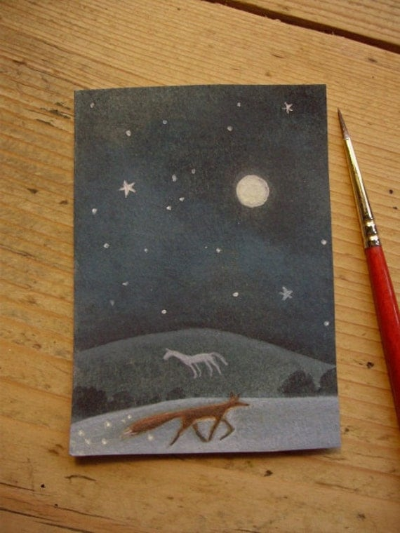 Journey. Fox And White Horse Original  Painting ACEO Sized